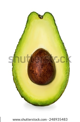 Half of avocado isolated on white - stock photo
