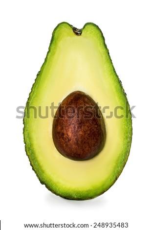 Half of avocado isolated on white - stock photo