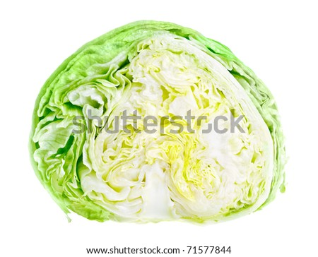 Half of fresh green iceberg lettuce isolated on white background - stock photo