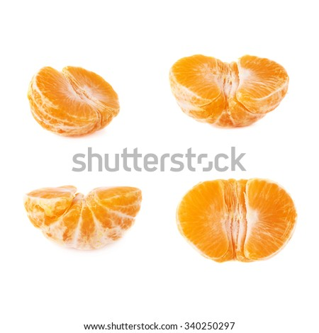 Half of fresh juicy peeled cleaned tangerine ripe fruit isolated over the white background - stock photo