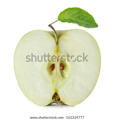 Half of green apple on white background - stock photo