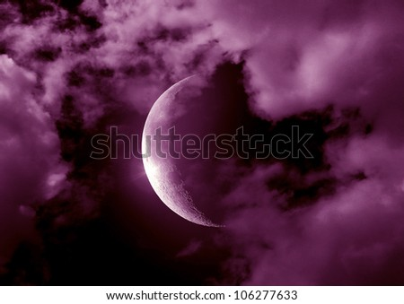 Half of moon in the night black sky - stock photo