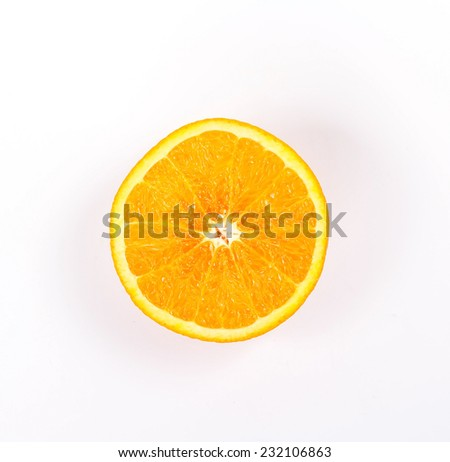 Half of orange isolated on a white background, top view. - stock photo
