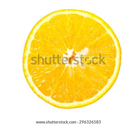 Half of orange isolated on a white top view - stock photo