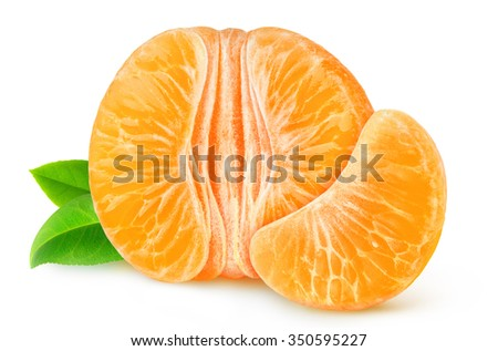 Half of peeled tangerine or orange isolated on white with clipping path - stock photo