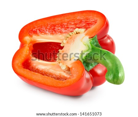 Half of pepper isolated on a white background - stock photo