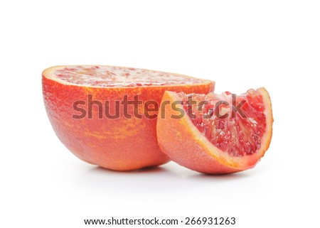 half of ripe blood red orange and segment isolated on white background - stock photo