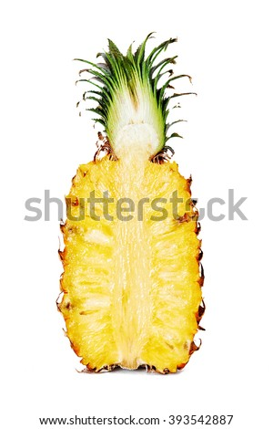 half of ripe pineapple isolated on white background - stock photo