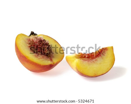 Half of tasty juicy peachand piece  on a white background - stock photo