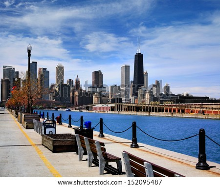 Half Of The Chicago Skyline As Seen From The Parking Garage Side Of Navy Pier On A Beautiful Day In Chicago Illinois, USA - stock photo