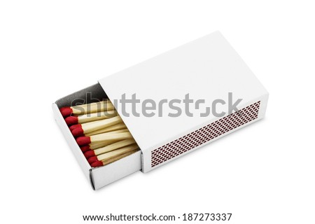Half opened blank matchbox with matches inside isolated on white - stock photo