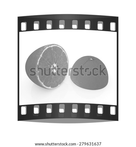 half orange on a white background. The film strip - stock photo
