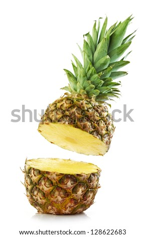half pineapple on white background - stock photo