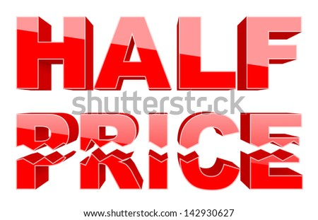Half price (shopping tag, raster copy of vector illustration) - stock photo