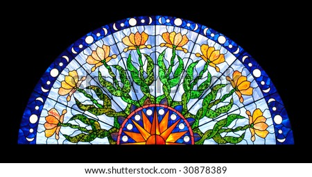 Half-round Stained Glass Window - stock photo