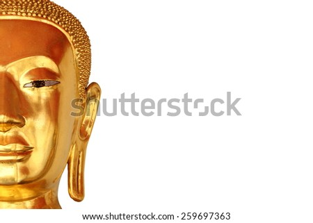 half the face closeup buddha statue in buddhist temple wat pho, bangkok, thailand, isolated on white background - stock photo