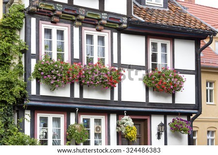 Half-timbered house in Quedlinburg town, Germany - stock photo