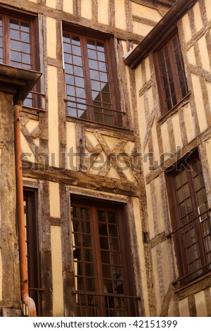 Half-timbered House in Troyes. France - stock photo