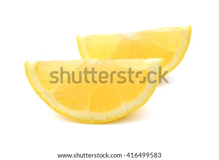 half yellow Lemon and slice on a white background  - stock photo