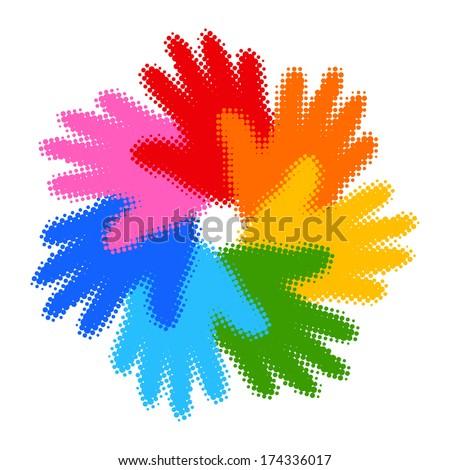 Halftone Colorful Hand Print icon, raster illustration  - stock photo