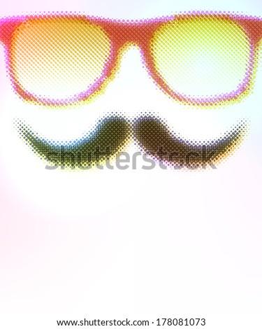 Halftone Glasses Background. Raster version. - stock photo
