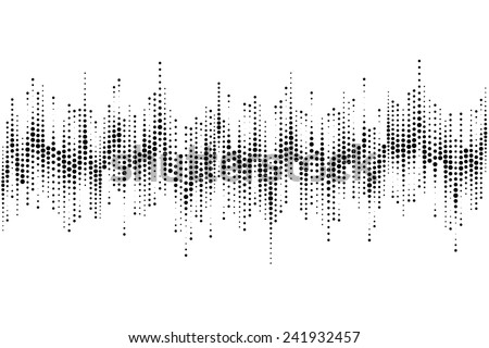 Halftone sound wave pattern modern music design element isolated on white background  - stock photo