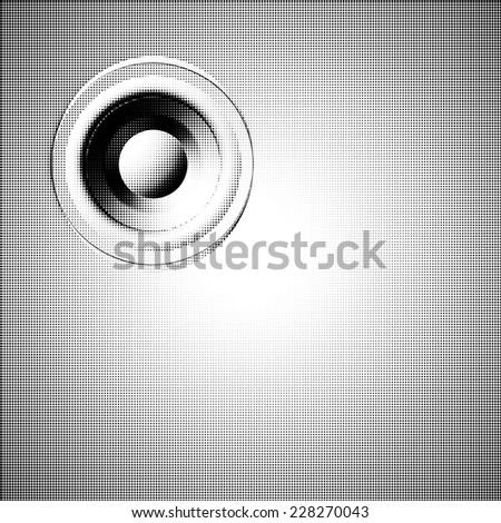 halftone speaker sound system background - stock photo