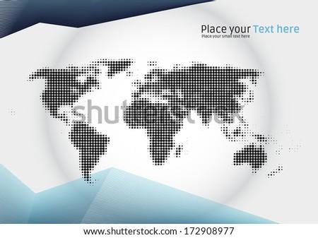 Halftone world map illustration - corporate brochure design layout for worldwide company - stock photo