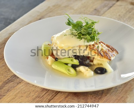Halibut with vegetable  - stock photo