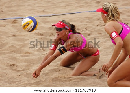 HALIFAX, CANADA - AUGUST 31: Anouk Verge-Depre of Switzerland competes at the FIVB Beach Volleyball Swatch Junior World Championships on Aug. 31, 2012 in Halifax, Canada. - stock photo