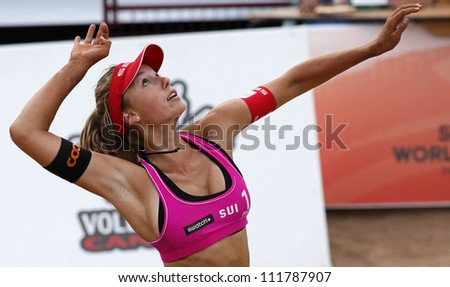 HALIFAX, CANADA - AUGUST 31: Nina Betschart of Switzerland competes at the FIVB Beach Volleyball Swatch Junior World Championships on Aug. 31, 2012 in Halifax, Canada. - stock photo