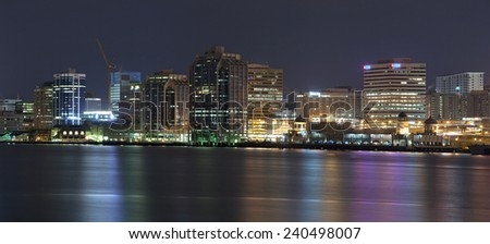 HALIFAX, CANADA - DECEMBER 28, 2014: Downtown Halifax skyline at night. Halifax is the capital of the province of Nova Scotia, Canada. - stock photo