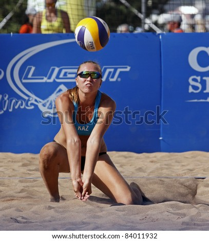 HALIFAX, CANADA - SEPTEMBER 2: Marina Pilipenko of Kazakhstan at the FIVB Beach Volleyball Swatch Junior World Championships on Sept. 2, 2011 in Halifax, Canada. - stock photo