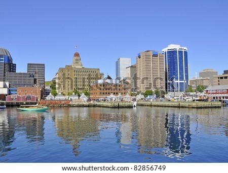 Halifax Harbour,front with city skyline in the background, Halifax Nova Scotia Canada - stock photo