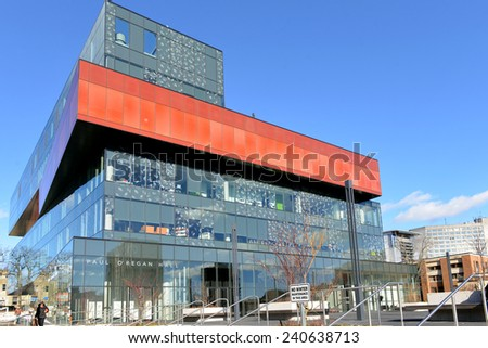 HALIFAX, NOVA SCOTIA, CANADA - DEC 29, 2014: The new Halifax Central Library back entrance as seen from Queen St, opened to the public with great fanfare earlier December 13, 2014 - stock photo