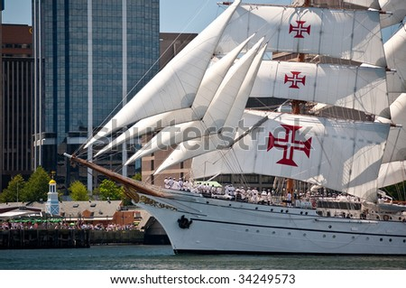 HALIFAX, NOVA SCOTIA - JULY 20: Sagres from Portugal takes part in the Parade of Sail during the Tall Ships Nova Scotia festival, July 20, 2009, in Halifax. - stock photo