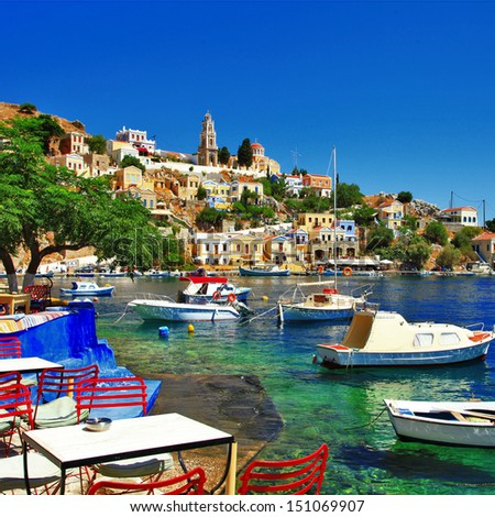 Halki - colorful small traditional island of Dodecanese, Greece - stock photo