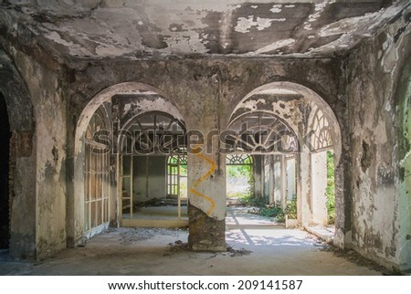 Hall in an abandoned hotel after the war in Croatia - stock photo