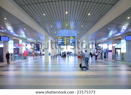 Hall of airport - stock photo