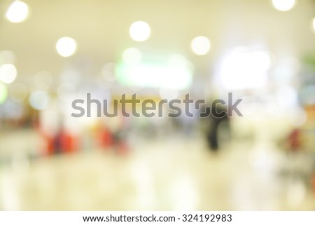 Hall of airport out of focus - defocused abstract background - stock photo