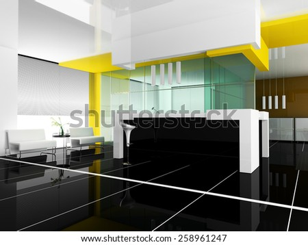 Hall of hotel in rsf 3d rendering - stock photo