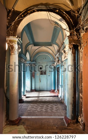 Hall of the ancient building. Odessa, Ukraine. - stock photo