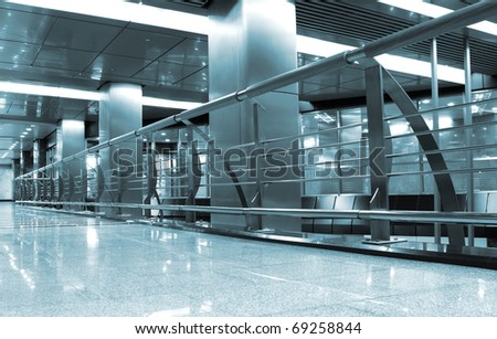 Hall with square columns - stock photo