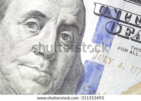 HALLANDALE - AUGUST 25: Macro image of a US 100 bill - stock photo