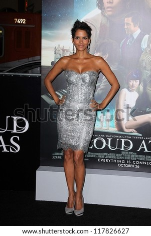 """Halle Berry at the """"Cloud Atlas"""" Los Angeles Premiere, Chinese Theater, Hollywood, CA 10-24-12 - stock photo"""