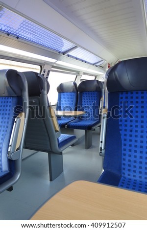 HALLE (SAALE), GERMANY - CIRCA MARCH 2013 - blue train seats empty useful as travel concept - stock photo