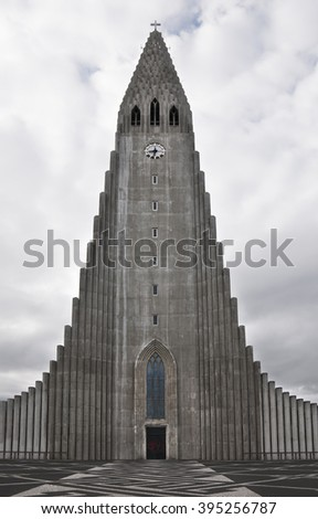 Hallgrimskirkja Church in Reykjavik, Iceland - stock photo