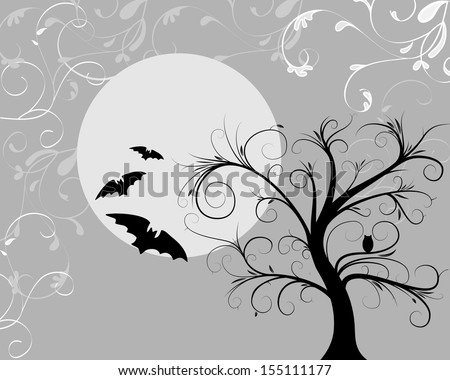 halloween abstract with moon owl and bats - stock photo