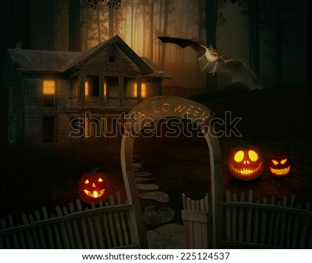 Halloween Background scary creepy scary Jack O'Lantern in a spooky backyard of a farmhouse. October 31st trick or treat - stock photo