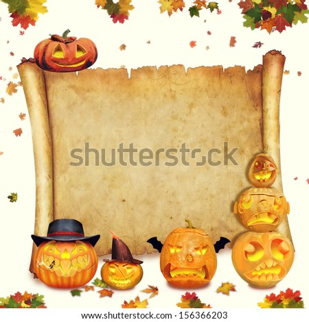 Halloween background scroll sign with foliage and carved orange pumpkins - stock photo